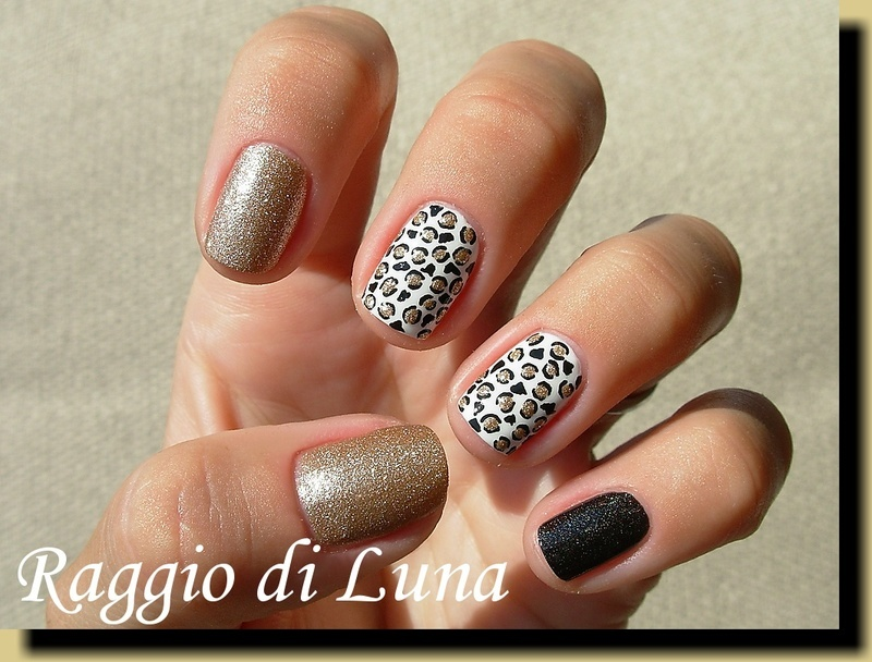Black & golden & white leopard skittlette nail art by Tanja