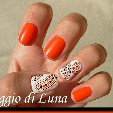Abstract orange & white & black dot manicure nail art by Tanja