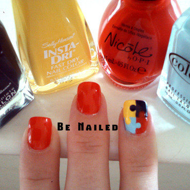 Autism Awareness  nail art by Dana  Nicole