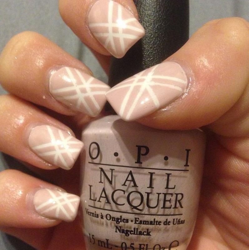 Neutral Striping Tape Art nail art by Dana  Nicole