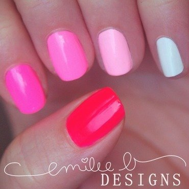Neon Pink Ombre nail art by Emilee