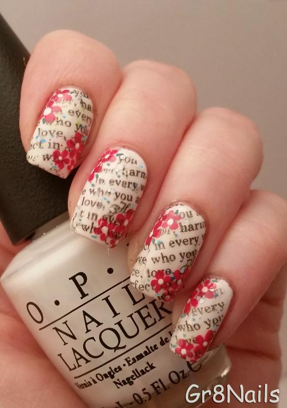 scripted nail art nail art by Gr8Nails