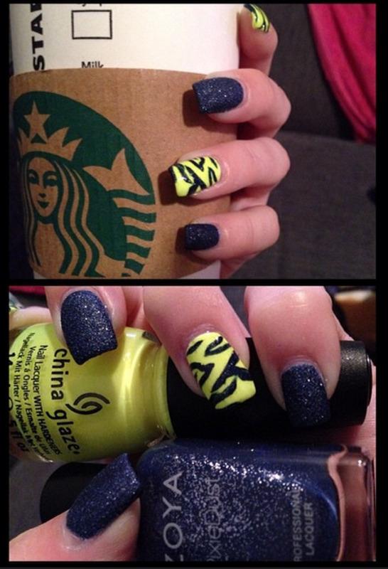Neon Textured Zebra nail art by Dana  Nicole