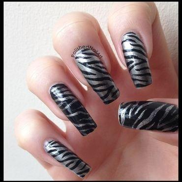 Metallic Zebra! nail art by Carrie