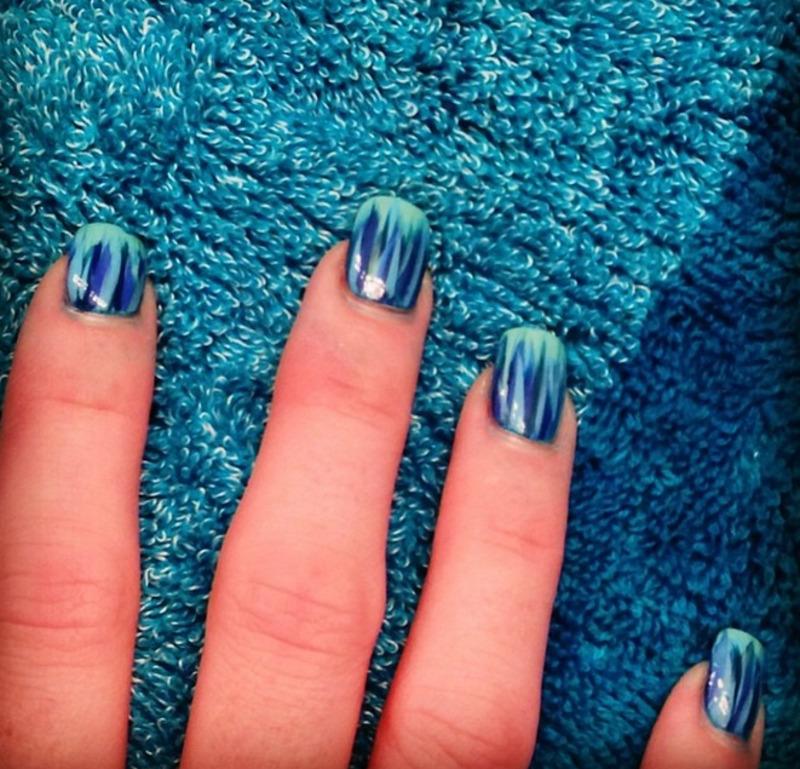 Blue Brushstrokes  nail art by Dana  Nicole