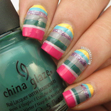 Transition to Fall Striped Nails nail art by Hector Alfaro