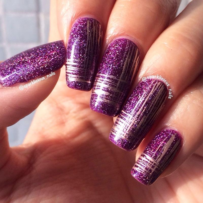 "Classy Metallic on Holo nail art by Amanda ""Sparklicious Nails"""