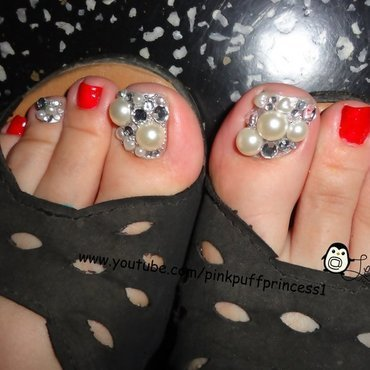 Red Japanese Toe Nail Art Tutorial nail art by Leneha Junsu