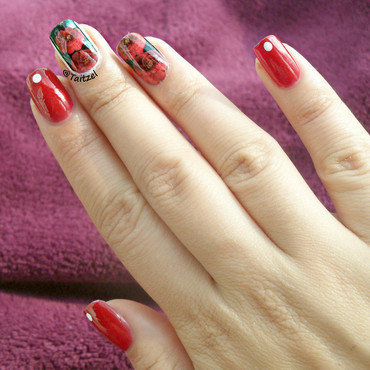 Flower water decals nail art by Teo