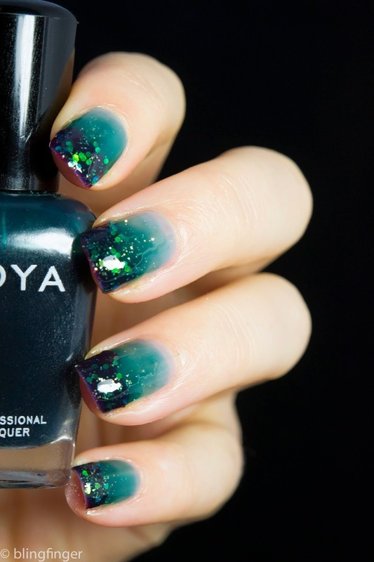 Teal Jelly Gradient nail art by  Petra  - Blingfinger