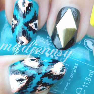 Edgy Ikat Nails! nail art by madjennsy Nail Art