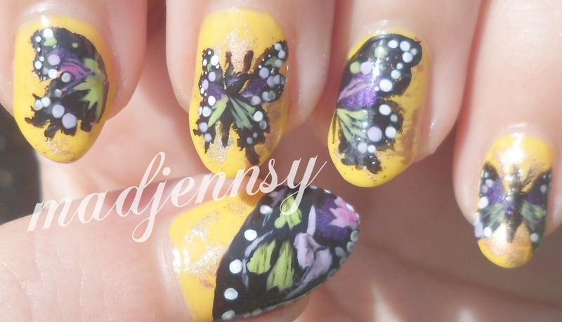Purple & Green Butterfly Nail Art nail art by madjennsy Nail Art