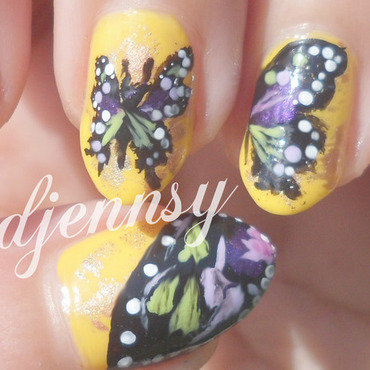 Purple and green butterfly nails3 thumb370f