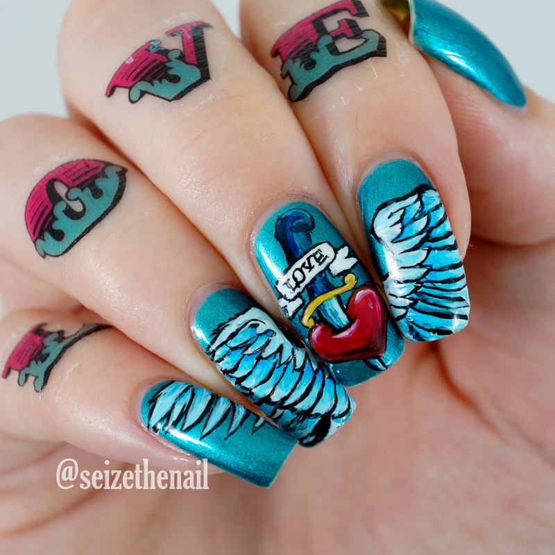 Old school tattoos nail art by Bella Seizethenail - Nailpolis ...