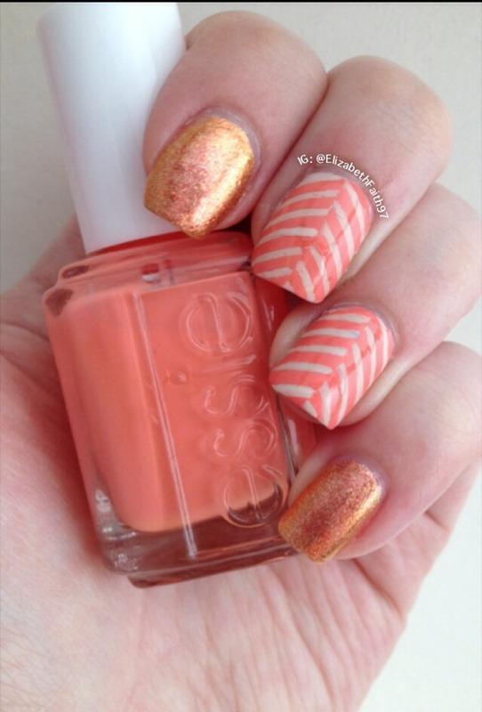 Herringbone! nail art by PolishIsSweet