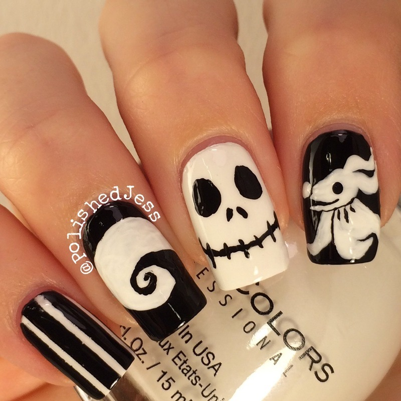 nightmare before christmas nail art by polishedjess