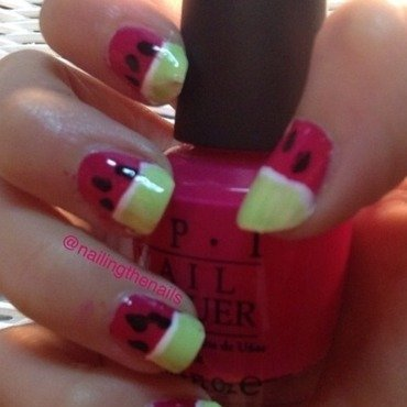 Watermelon nails nail art by Nailingthenails