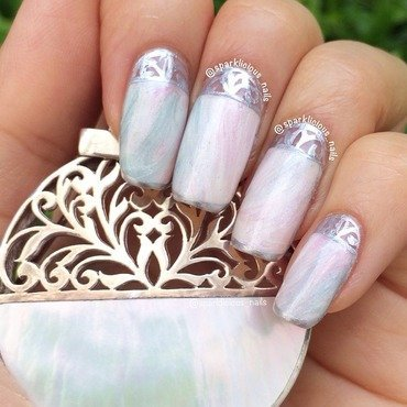 "Mother of Pearl  nail art by Amanda ""Sparklicious Nails"""