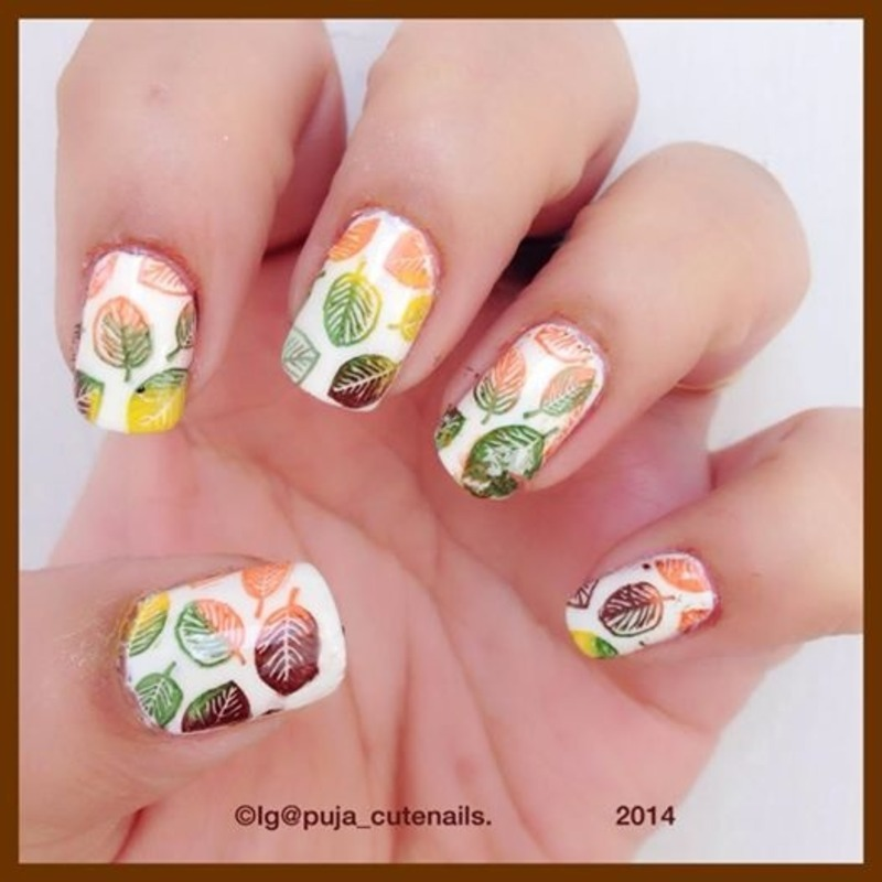 Fall inspired mani  nail art by Puja Malhotra
