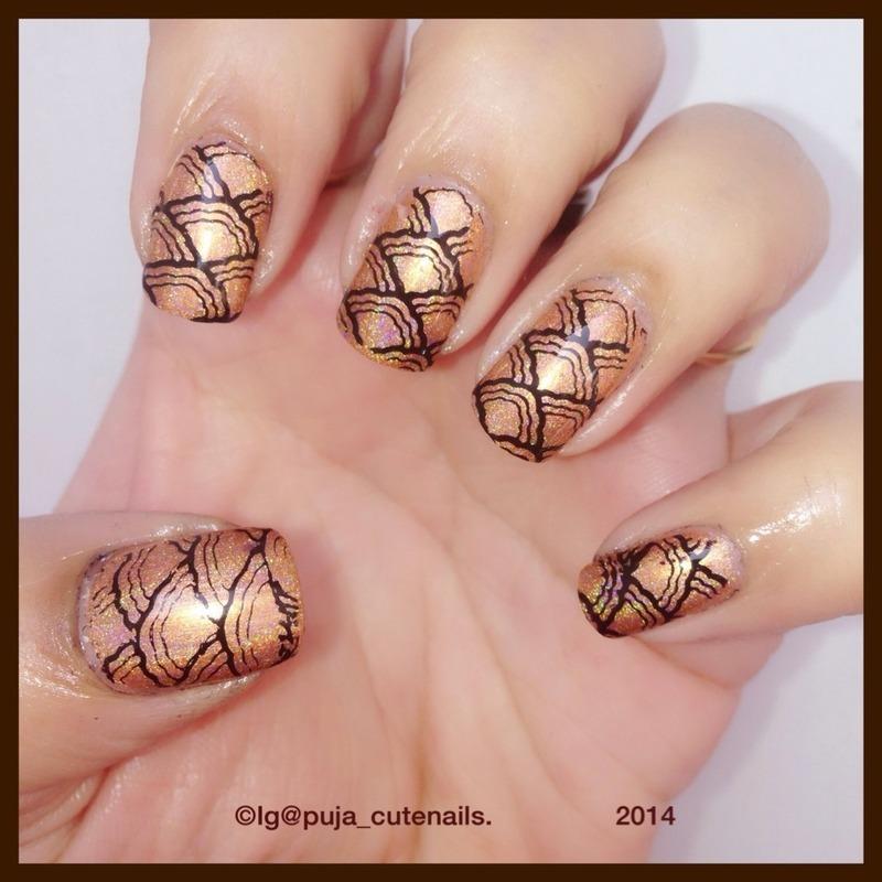 Shell print nails nail art by Puja Malhotra