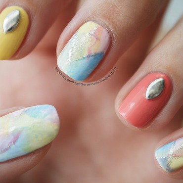 pastell-colored nails nail art by Jule