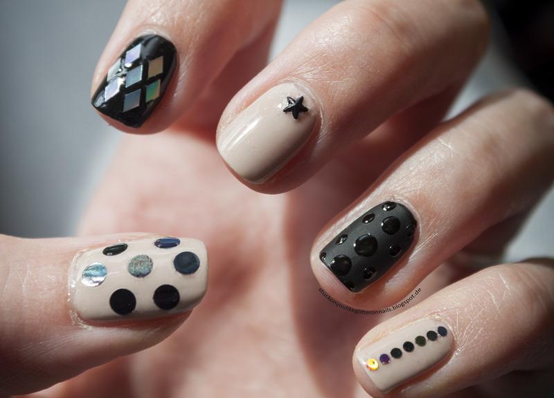 nude & black nail art by Jule