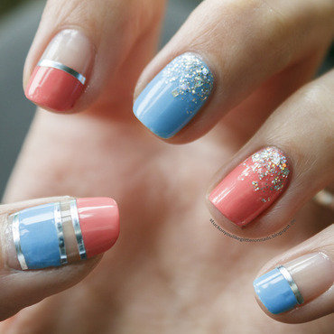 blue & pink cut out nails nail art by Jule