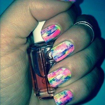 Neon Distressed Nails nail art by Ella