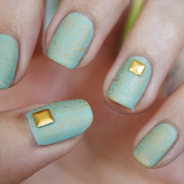 mint meets gold nail art by Jule