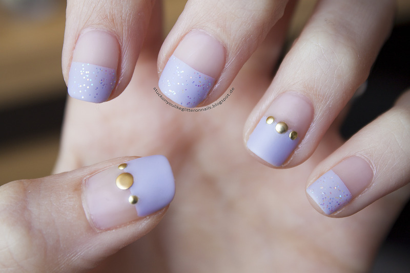 matte glitter nail art by Jule