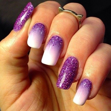 Purple gradient with holo glitter nail art by Henulle