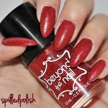 Beyond The Nail Red Microglitter Swatch by Maddy S