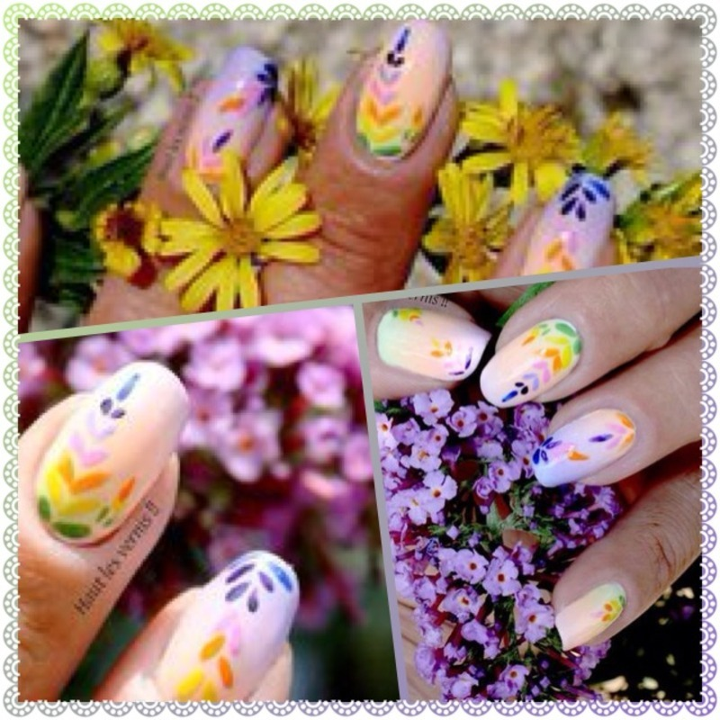 Rainbow nail art by Elodie Mayer