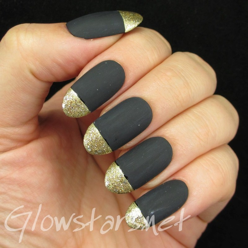 Matte black and gold glitter tips nail art by Vic 'Glowstars' Pires