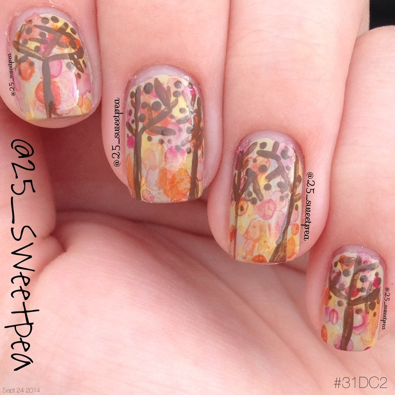 Abstract Fall Trees nail art by 25_sweetpea