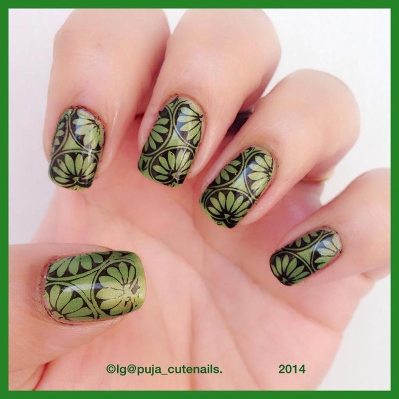 Green nail art nail art by Puja Malhotra