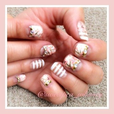 Cherry Blossoms & White Stripes nail art by SweetPea_Whimsy