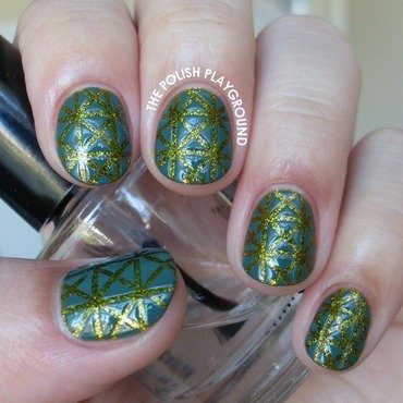 Teal on Green Geometric Striping Tape Triangles nail art by Lisa N