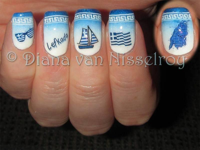 Greece..the island Lefkada nail art by Diana van Nisselroy ...