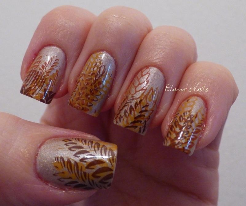 Autumn Stamping nail art by Ginger_Elanor