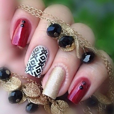 Red and Black Skittlette nail art by Debbie