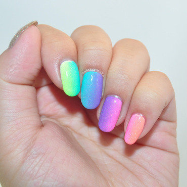 Neon Gradient nail art by Ramy Ang