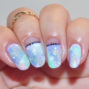 Pastel Galaxy nail art by Ramy Ang