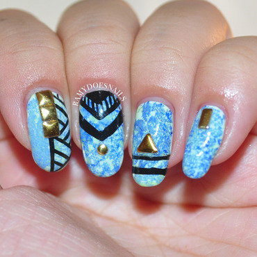 Linear Waters nail art by Ramy Ang
