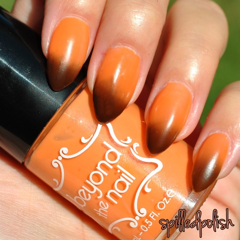 Beyond The Nail Deep Brown to Orange Thermal Swatch by Maddy S