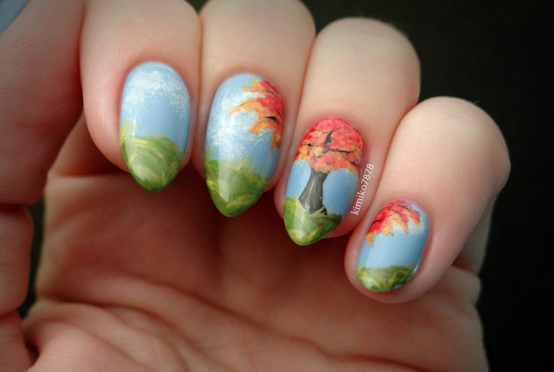Cheery fall tree nail art by Kim