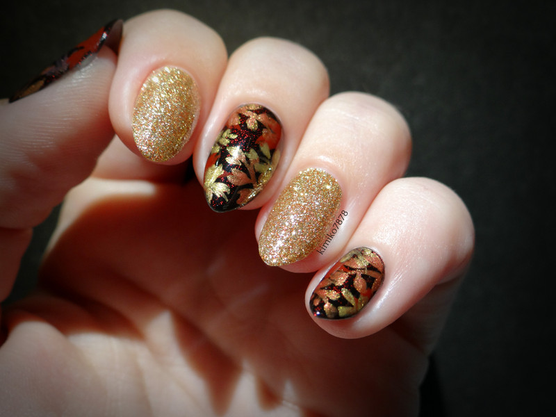 Fall in Gold nail art by Kim