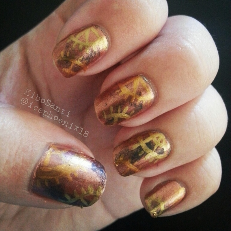September challenge day 17 Steampunk  nail art by KiboSanti