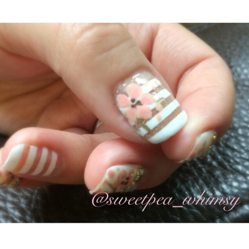Cherry Blossoms & White Stripes (Close Up) nail art by SweetPea_Whimsy