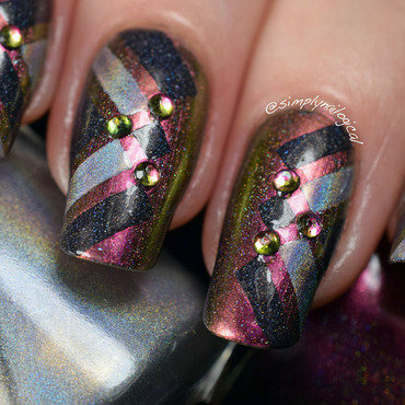 Colour shifty polish & studs combo nail art by simplynailogical